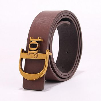DIOR Fashion Women Chic Metal Buckle Multicolor Leather Belt Coffee