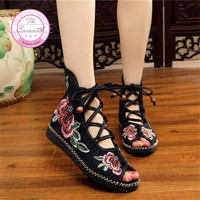 3Colors 2017 Summer New Sandals Peep Toe Embroidered Shoes Ethnic Lace Women Shoes