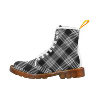 Black And White Plaid Martin Boots For Women Model 1203H | ID: D1274241