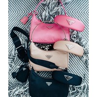 PRADA 2020 New Nylon Suit Retro Hobo-Underarm Bag-Leisure-Crescent Crossbody Bag Multi-color optional