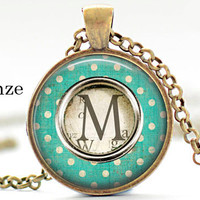 Initial M Necklace, Best Friend,Back to School Teacher Gift The Letter M Art Pendant  old typewriter keys Charm polka dots Alphabet Necklace