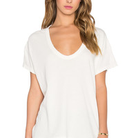 The Great The U-Neck Tee in Washed White
