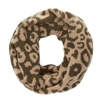Cozy Leopard Print Infinity Scarf by Charlotte Russe - Tan Combo