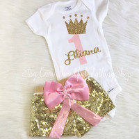 Pink and Gold Girl Birthday Outfit, First Birthday, Gold Glitter Onesuit Shirt, 1st Birthday Onesuit, 1st Birthday Girl Outfit, Pink and Gold