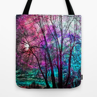 Purple teal forest Tote Bag by Haroulita | Society6