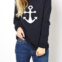 Women's Anchor Themed Pullover Sweater