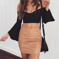 High Waist PU Leather Mini Skirt