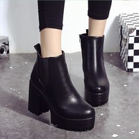 Women Boots Square Heel Platforms Leather Thigh High Pump Boots Shoes Woman botas ug australia mujer Female Winter Boots
