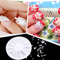 Product 3D White Nail Art Tips Pearl Acrylic Gem Glitter Manicure DIY Decoration