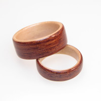 15% OFF with Coupon Code~ CHRISTMAS2013 Wedding Band Bentwood Set Sapele wood with Maple Interior