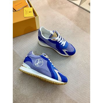 2021 LV Louis Vuitton women Leather HIGH Top Sneakers Shoes BLUE