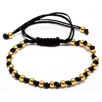 New Black CZ Beads Ball Braiding Macrame Bracelet Friendship Punk Gold Color Men Jewelry Bead Love Bracelets For Women