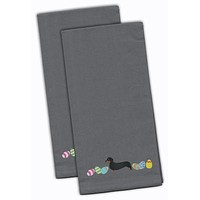 Dachshund Easter Gray Embroidered Kitchen Towel Set of 2 CK1631GYTWE