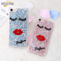 KISSCASE For iPhone 7 7 Plus Cases Glitter Sequins Sexy Red Lips Eyelash Soft Girly Phone Cover For iPhone 7 7Plus Fundas Coque