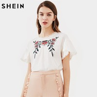 SHEIN Lace Trim Keyhole Back Flower Embroidered Textured Top Summer Fashion Blouses 2017 Women White Short Sleeve Blouse