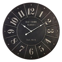 Old Town Clocks Industrial Black Iron Embossed Wall Clock -- 32-1/2-in