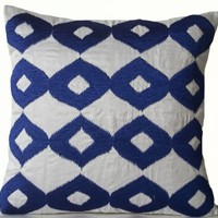Amore Beaute Handmade Royal Blue Pillow Cover - White Silk (Faux) Blue Ikat Embroidered Pillowcase - White Blue Pillow Covers - Silk Pillow Cover - Couch Pillow Cover - White Cushion Cover - Ikat Pillow Covers - Modern Decor - Contemporary Pillow Cover - T