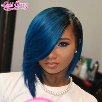 BIg Sales Promotion Top Quality 7A Peruvian Virgin Human Hair Ombre Black Blue  Lace Front Wigs With Baby Hair Straight  Wig