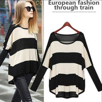 Long Sleeve Color Block Striped Sweater - White Black/Beige Black