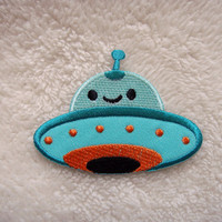Green UFO Outer Space Air Craft Applique Iron on Patch