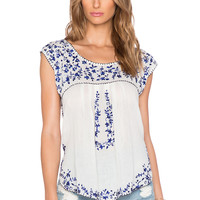 Rory Beca Deka Embroidered Top in Blue