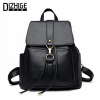 DIZHIGE Brand Famous Solid Women Backpack High Quality Black PU Leather Backpack Designer New School Bags For Teenagers Girls