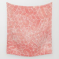 Peach echo and white zentangles Wall Tapestry by Savousepate
