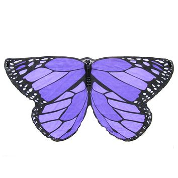 Childrens Butterfly Wings Kids Monarch Purple Cape Dress Up Dance Costume Wings