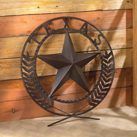 """Round Metal Texas Lone Star 25"""" Wall Plaque Country Home Decor"""