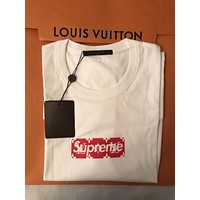 LOUIS VUITTON x SUPREME LV Red Box Logo/ Monogram T-Shirt - White - XL