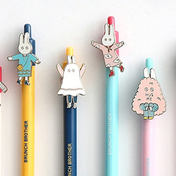 Cute bunny pens from Korea, Korean Stationery School Supplies, Kawaii Planner Pens, Cute Pen Gift, Gift for Writer, Kawaii Gift Stocking