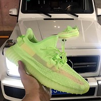Adidas Yeezy Boost 350 V2 2019 new fluorescent green hollow version of luminous mesh breathable sneakers
