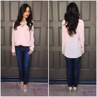 Let It Go Wrap Blouse In Pink