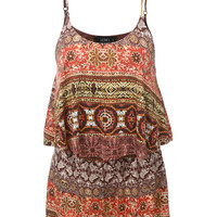 LE3NO Womens Sleeveless Ruffled Gypsy Printed Romper