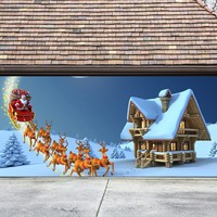 Christmas Garage Door Cover Banners 3d Santa In A Sleigh Holiday Outside Decorations Outdoor Decor for Garage Door G52