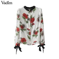 Vadim women sweet bow tie floral pleated shirts long sleeve O neck blouse autumn ladies casual chic tops blusas LT2372