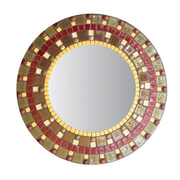 Round Wall Mirror in Brown and Olive Green Glass Mosaic, Accent Mirror, Earth Tones, Decorative Mirror, Brown Home Decor