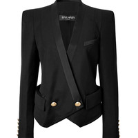 Balmain - Wool Bold Shoulder Blazer in Black