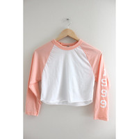 1999 Baby Pink and White Cropped Baseball Tee