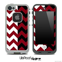 Two Toned Chevron Pattern Dark Red Skin for the iPhone 5 or 4/4s LifeProof Case