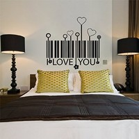 Wall Decal Vinyl Sticker Bar Code Quote Lettering Words Saying Bedroom B477