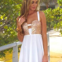 White Skater Dress Featuring Sequin Gold and Cutout Detail