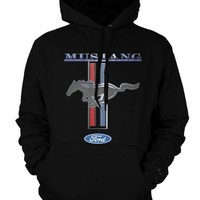 Mustang Logo Ford Symbol Mens Sweatshirt, Officially Licensed Ford Mustang Horse Logo Mens Hooded Pullover Sweater