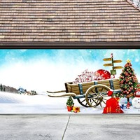 Christmas Garage Door Cover Banners 3d Snowman Christmas Tree Holiday Outside Decorations Outdoor Decor for Garage Door G84