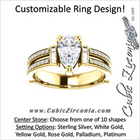 Cubic Zirconia Engagement Ring- The Kaitlyn (Customizable Center with Flanking Baguettes And Round Channel Accents)