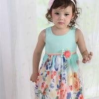 Summer Splash Sea Green Floral Print Dress
