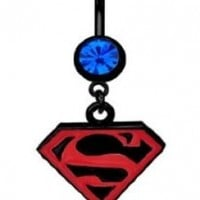 Officially Licensed Dc Comics Superman Super man Shield S Red & Black dangle Belly navel Ring piercing bar body jewelry 14g