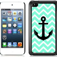 Chevron Anchor Boat Hard Plastic and Aluminum Back Case For Apple iPod Touch 4 4th Generation With 3 Pieces Screen Protectors