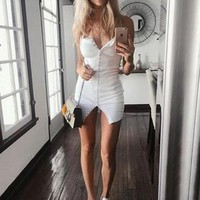 New Women White Plain Single Breasted Square Neck Mini Dress