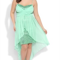 Plus Size Sequin High Low Prom Dress with Cross Bodice, Flyaway Skirt